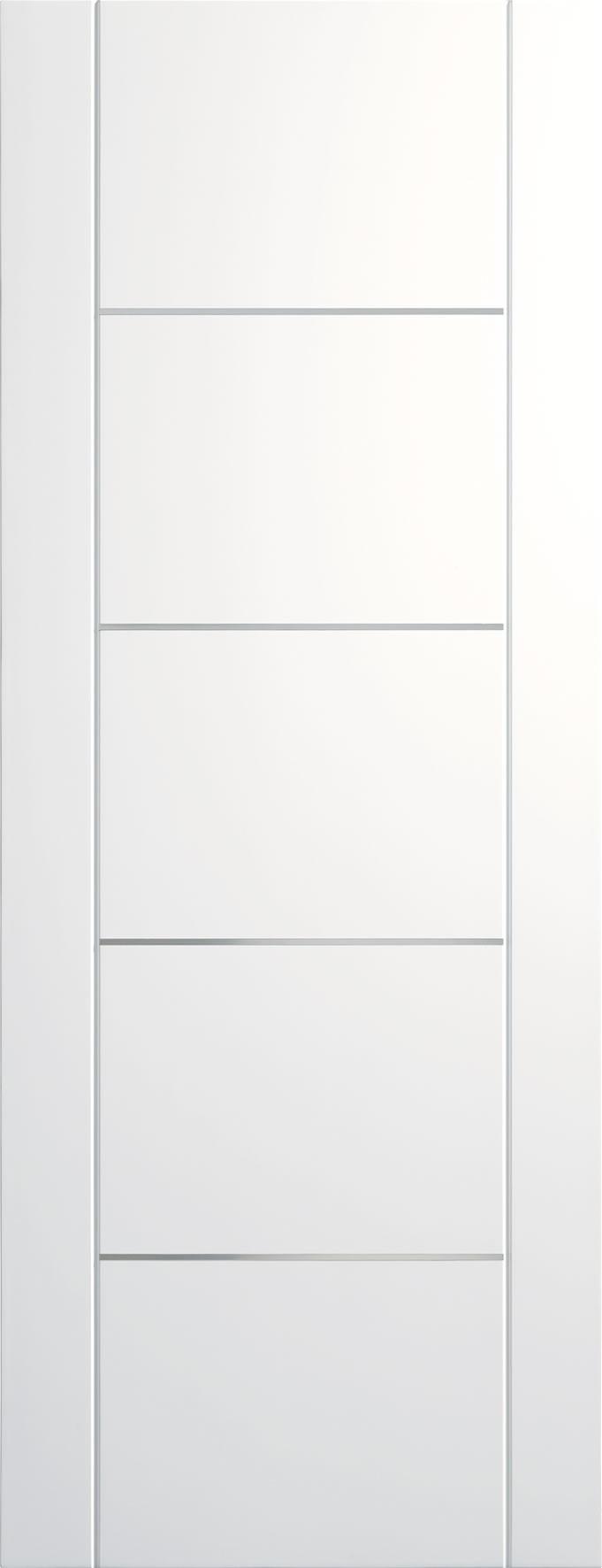 XL JOINERY DOORS -  PFWFPOR30-FD Pre-Finished Internal White Portici (Alum Inlay) Fire Door  PFWFPOR30-FD