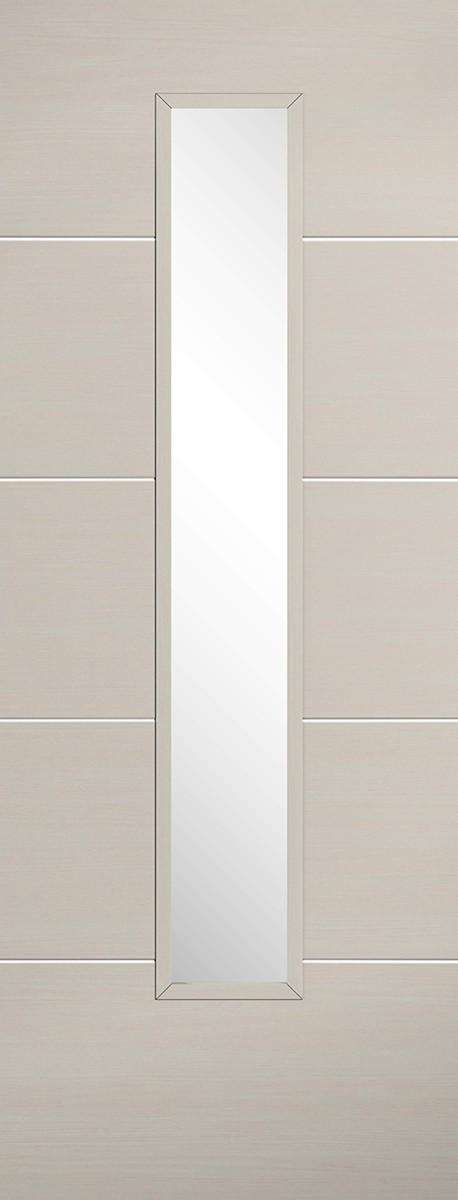 "LPD - Internal Door - Ivory Laminated Santandor Glazed 1981 x 686 (27"")  LAMIVOSANGL27"