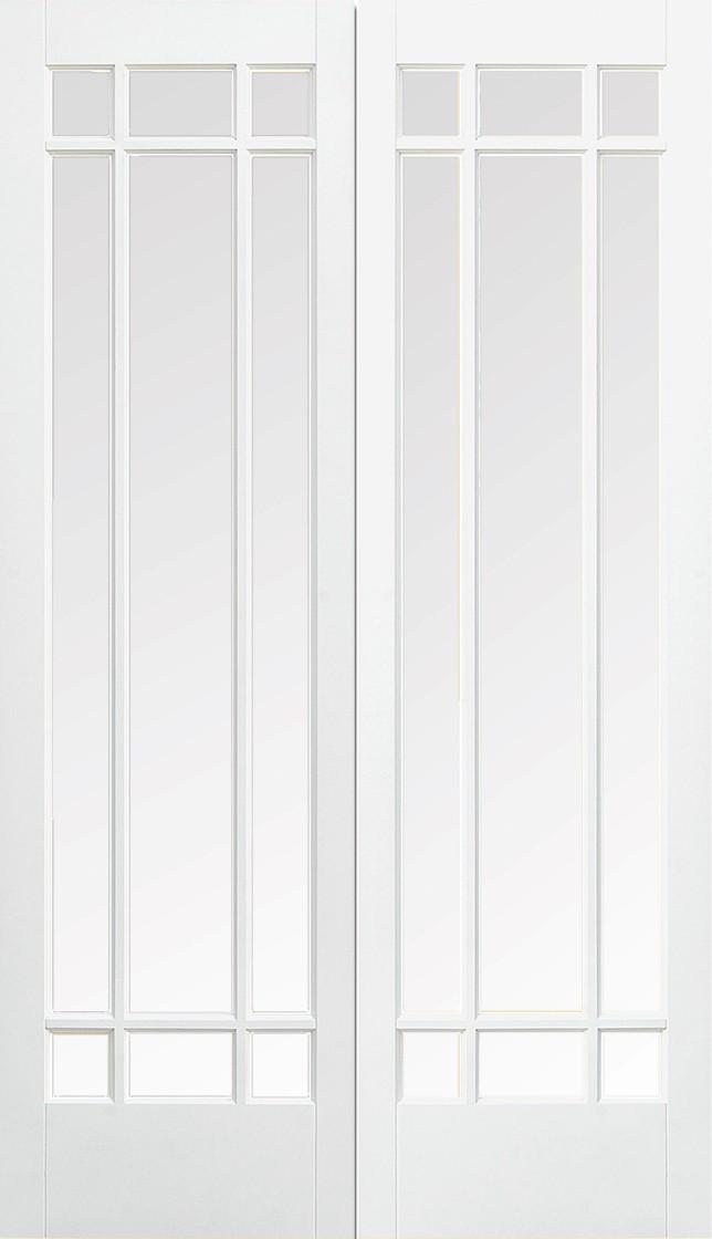 LPD - Internal Door - White Manhattan Glazed 9L Pair 1981 x 1168 mm  WFPRSMANCG46