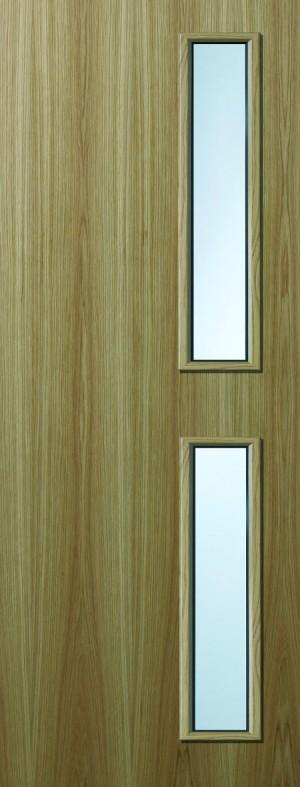 Premdor Oak Veneer 16G Internal Fire Door - with Clear Wired Glass