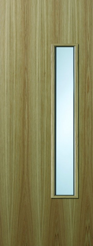 Premdor Oak Veneer 18G Internal Fire Door - with Clear Wired Glass