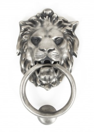 ANVIL - Lion's Head Door Knocker - Antique Pewter  Anvil33019