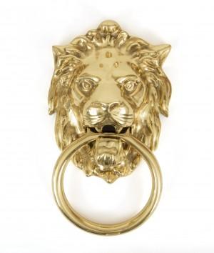 ANVIL - Lion's Head Door Knocker - Polished Brass  Anvil33020