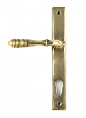 ANVIL - Aged Brass Reeded Slimline Lever Espag. Lock Set  Anvil33039