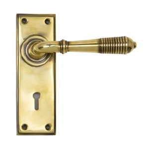 ANVIL - Aged Brass Reeded Lever Lock Set  Anvil33040