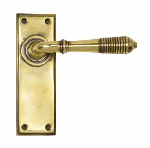 ANVIL - Aged Brass Reeded Lever Latch Set  Anvil33083