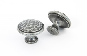 ANVIL - Pewter Beaten Cupboard Knob - Large  Anvil33625