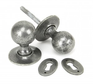 ANVIL - Pewter Round Mortice/Rim Knob Set  Anvil33778