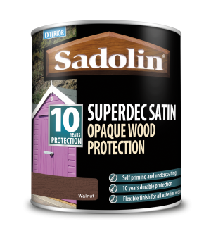 Sadolin Superdec Satin Opaque Wood Protection Walnut 1L  5028836