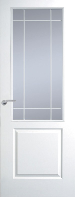 Premdor Manhattan Half Light White Leading Internal Door (Textured) - with Clear Glass
