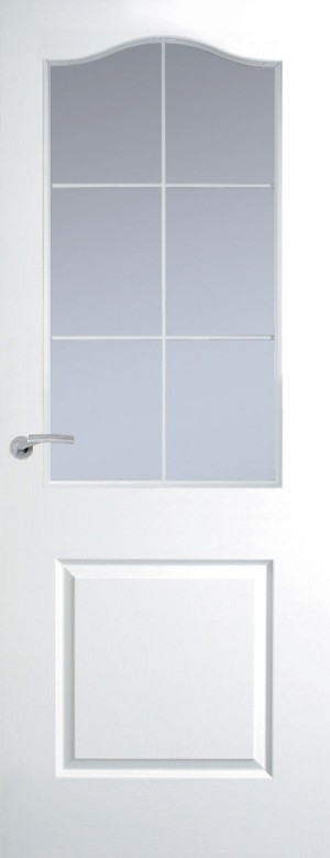 Premdor Manhattan 6 Light Arch Top White Leading Internal Door  - with Clear Glass