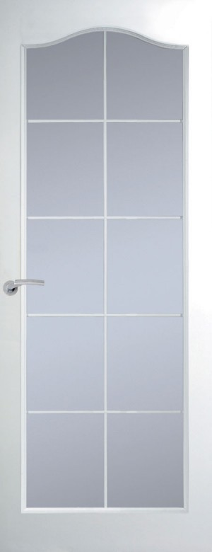Premdor Manhattan 10 Light Arch Top White Leading Internal Door - with Clear Glass
