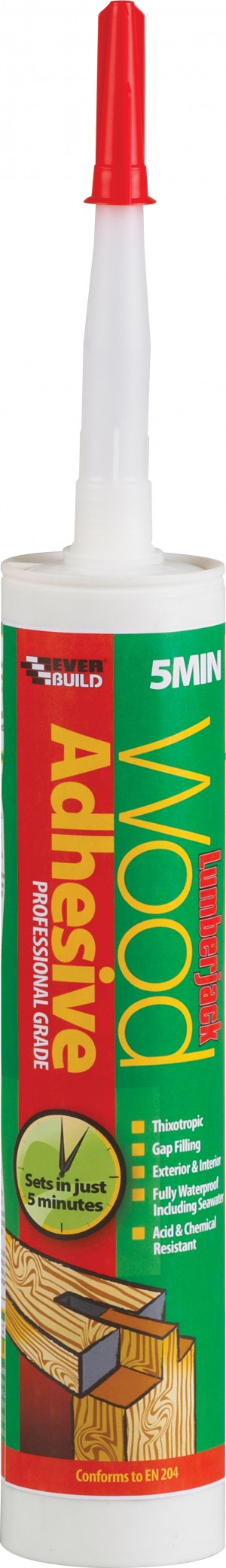 SikaEverbuild Lumberjack 5 Min PU Wood Glue 310ml Clear [EVB5MINPU3]