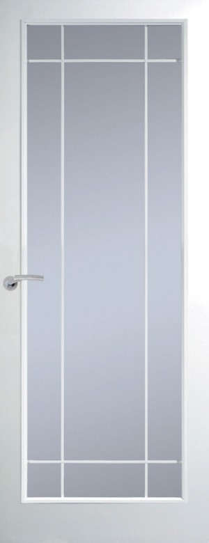 Premdor Manhattan Full Light Chrome Leading Internal Door (Smooth) - with Clear Glass