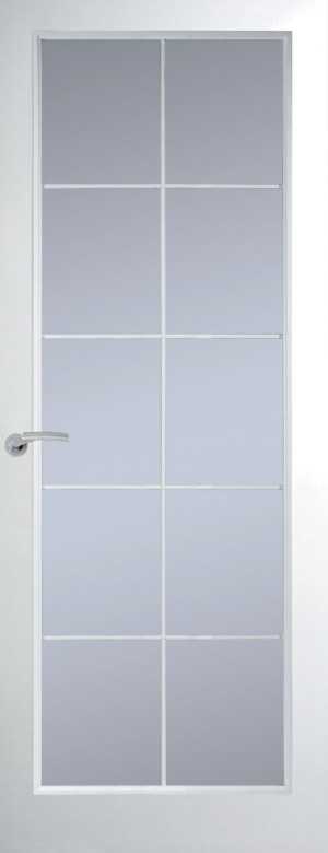 Premdor Manhattan 10 Light Chrome Leading Internal Door (Smooth) - with Clear Glass