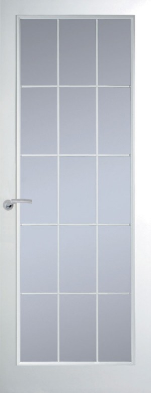 Premdor Manhattan 15 Light Chrome Leading Internal Door (Smooth) - with Clear Glass