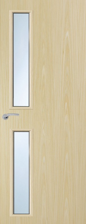 Premdor Portfolio Ash Vertical 16G Internal Fire Door - With Clear Wired Glass