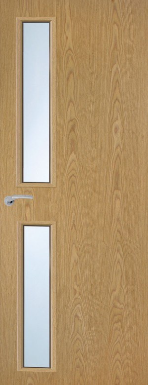 Premdor Portfolio Oak Vertical 16G Internal Fire Door - With Clear Wired Glass