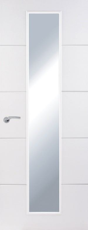 Premdor Horizontal 4 Line Internal Door - with narrow Clear Glass