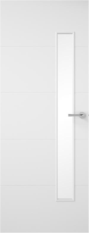 Premdor Horizontal 4 Line Narrow Offset Internal Door - with clear glass
