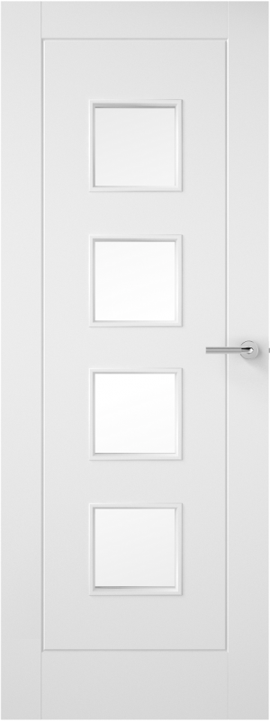 Premdor 1 Panel 4 Light Internal Fire Door - with Clear Glass