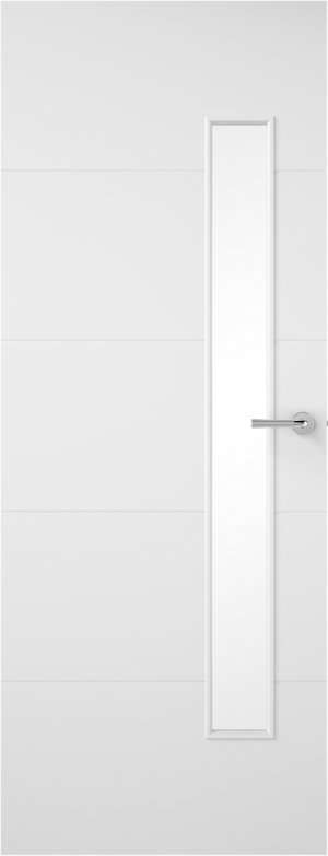 Premdor Horizontal 4 Line Narrow Offset Internal Fire Door - with clear glass