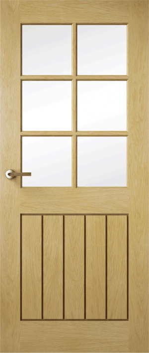 Premdor Contemporary Croft Solid Oak Internal Door Glazed with Clear Glass - Fully Finished