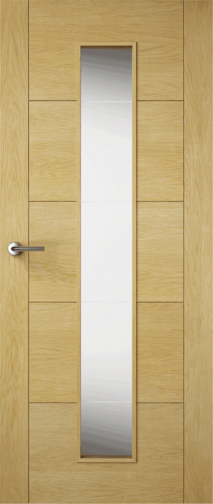 Premdor Contemporary Oak Milano Internal Door Glazed with Clear Glass - Fully Finished