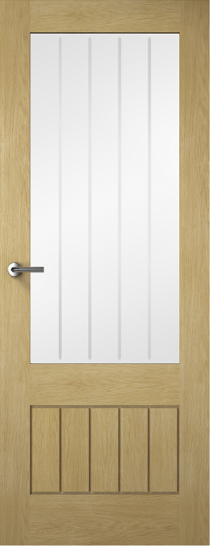 Premdor Contemporary Croft 3/4 Light Oak Internal Door - Glazed with Clear Glass (Fully Finished)
