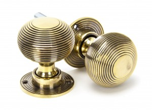 ANVIL - Aged Brass Beehive Heavy Mortice/Rim Knob Set  Anvil83633H