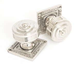 ANVIL - Polished Nickel Tewkesbury Square Mortice Knob Set  Anvil83859