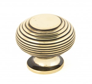 ANVIL - Aged Brass Beehive Cabinet Knob - Large