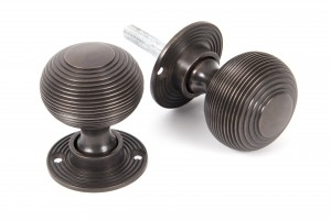 ANVIL - Aged Bronze Heavy Beehive Mortice/Rim Knob Set  Anvil83947