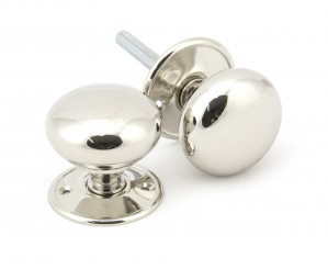 ANVIL - Polished Nickel 57mm Mushroom Mortice/Rim Knob Set  Anvil91530