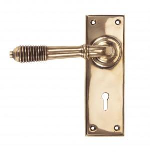 ANVIL - Polished Bronze Reeded Lever Lock Set  Anvil91913