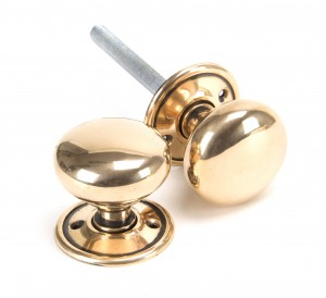 ANVIL - Polished Bronze Mushroom Mortice/Rim Knob Set