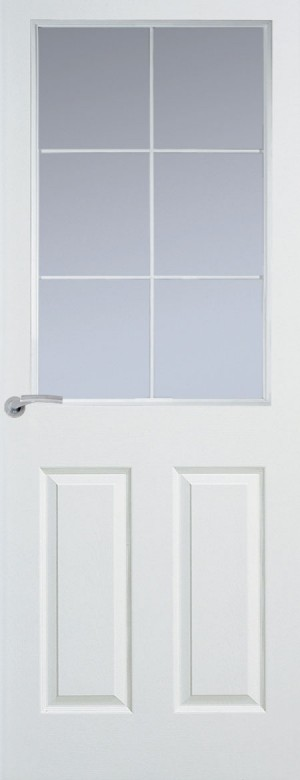 Premdor Manhattan 6 Light Chrome Leading Internal Door (Textured) - with Clear Glass