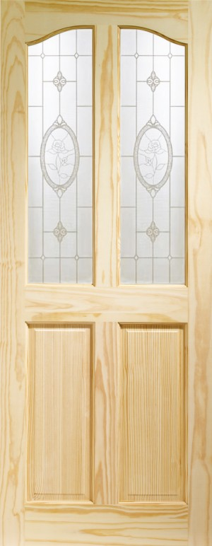 XL JOINERY DOORS -  GCPRIO27FG  Internal Clear Pine Rio with Crystal Rose Glass  GCPRIO27FG