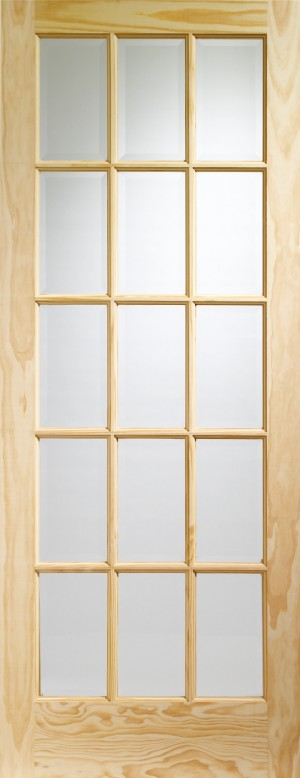 XL JOINERY DOORS -  GCPSA30  Internal Clear Pine SA77 with Clear Glass (15 Light)  GCPSA30