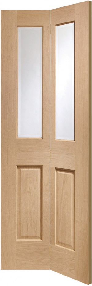 XL JOINERY DOORS -  GOBF4P30  Internal Oak Malton Bi-Fold with Clear Bevelled Glass  GOBF4P30