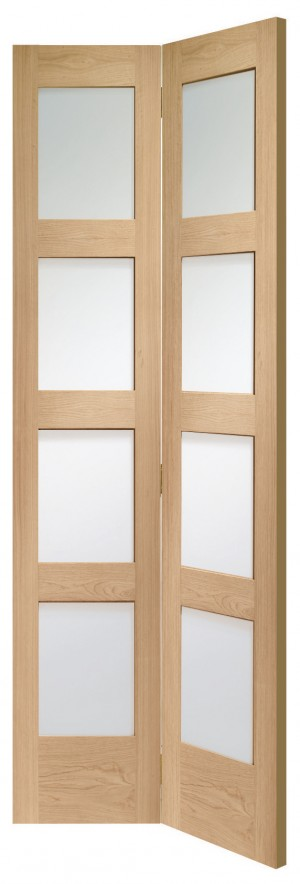 XL JOINERY DOORS -  GOBFSHA30  Internal Oak Shaker Bi-Fold with Clear Glass  GOBFSHA30