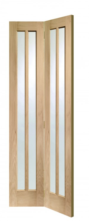 XL JOINERY DOORS -  GOBFWOR30  Internal Oak Worcester Bi-Fold with Clear Glass  GOBFWOR30