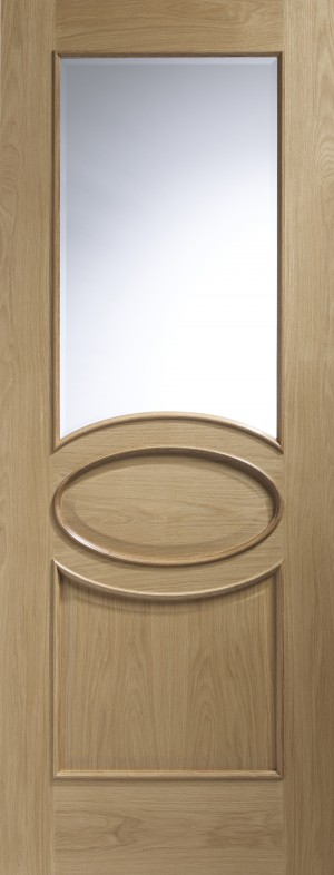 XL JOINERY DOORS -  GOCAL30RM  Calabria Internal Oak Door with Clear Bevelled Glass and Raised Mouldings  GOCAL30RM
