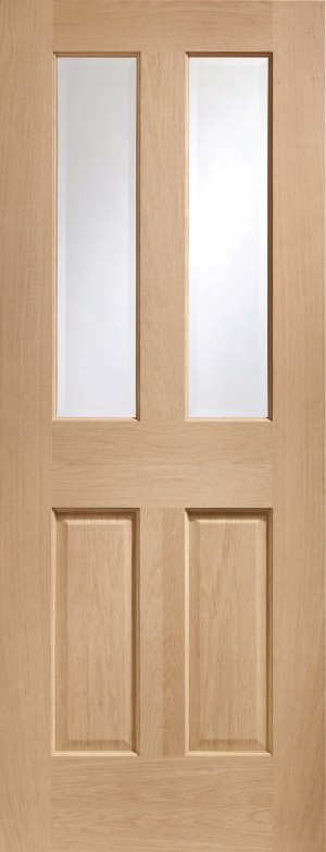 XL JOINERY DOORS -  PFGOMAL27  Internal Oak Pre-Finished Malton with Clear Bevelled Glass  PFGOMAL27