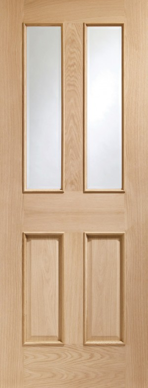 XL JOINERY DOORS -  GOMAL30RM  Internal Oak Malton with Clear Bevelled Glass and Raised Mouldings  GOMAL30RM