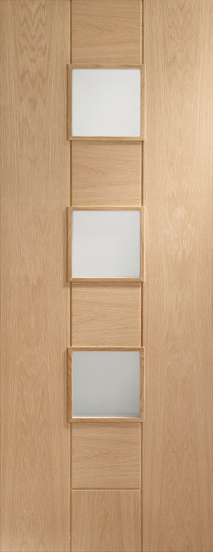 XL JOINERY DOORS -  PFGOMES30C  Internal Oak Pre-Finished Messina with Clear Glass  PFGOMES30C