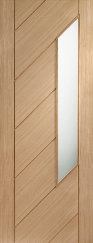 XL JOINERY DOORS -  GOMON30  Internal Oak Monza with Obscure Glass  GOMON30