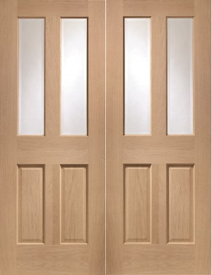 XL JOINERY DOORS -  GOPMAL46  Malton Internal Oak Rebated Door Pair with Clear Bevelled Glass  GOPMAL46