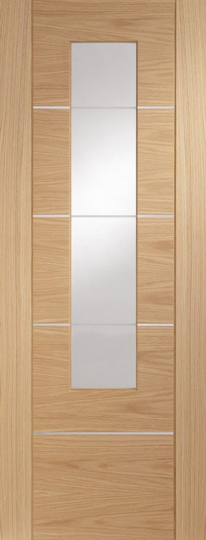XL JOINERY DOORS -  PFGOPOR27  Portici Pre-Finished Internal Oak Door with Clear Glass   PFGOPOR27