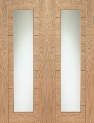 XL JOINERY DOORS -  GOPPAL42 Internal Oak Palermo Rebated Door Pair with Clear Glass  GOPPAL42